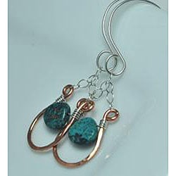 AEBDesign Copper and Sterling Silver Turquoise Earrings - Thumbnail 2