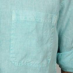 Natural Blue Men's Enzyme Wash Linen Shirt - Thumbnail 2