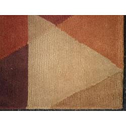 Indo Hand-knotted Rust/ Beige Tibetan-style Wool Rug (3'5 x 5'5) - Thumbnail 2