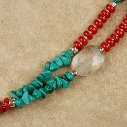 Turquoise and Red Bamboo Coral Long Necklace (China) - Thumbnail 2
