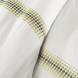 Hotel Embroidered Green 3-piece Full/ Queen-size Duvet Cover Set - Thumbnail 2