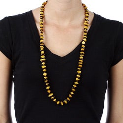 Lee Sands Yellow and Cherry Amber Nugget Endless Necklace