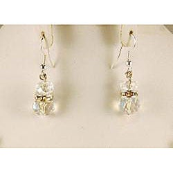 Sparkling Clear Crystal Cluster Necklace and Earrings Jewelry Set