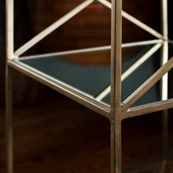 Handmade Brass-plated Iron and Glass Square End Table (India) - Thumbnail 2