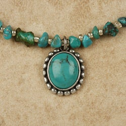 Sterling Silver Dainty Turquoise Necklace (China)