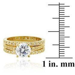 Icz Stonez 18k Gold over Sterling Silver Cubic Zirconia Bridal Ring Set - Thumbnail 2