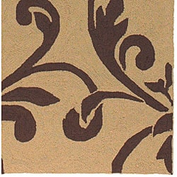 Hand-hooked Tropic Dark Brown Indoor/Outdoor Floral Rug (9' x 12') - Thumbnail 2