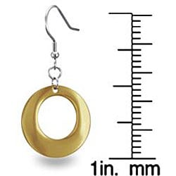 West Coast Jewelry Stainless Steel Gold Plated Circle Dangle Earrings