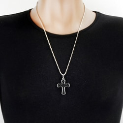 West Coast Jewelry Stainless Steel Black Carbon Fiber Inlay Cross Necklace - Thumbnail 2