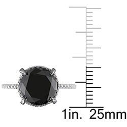 Miadora 10k White Gold 4 3/4ct TDW Black Halo Diamond Ring (G-H, I2-I3)