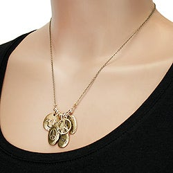 West Coast Jewelry Goldtone 'Peace and Hope' Multiple Charms Necklace - Thumbnail 2