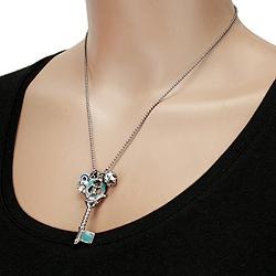 West Coast Jewelry Dark Metal Multi Charm Light Blue Key Necklace