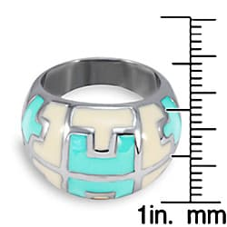 Stainless Steel Mint and Cream Enamel Pattern Ring - Thumbnail 2