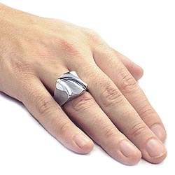 West Coast Jewelry Stainless Steel Groove Ring - Thumbnail 2