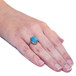 West Coast Jewelry Stainless Steel Oval-cut Created Turquoise Cabochon Ring