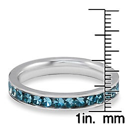 West Coast Jewelry Stainless Steel Polished Teal Cubic Zirconia Band Ring - Thumbnail 2