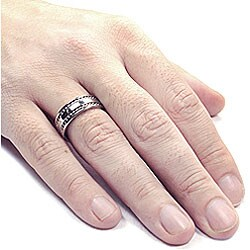 Stainless Steel Double Cable Inlay Ring - Thumbnail 2