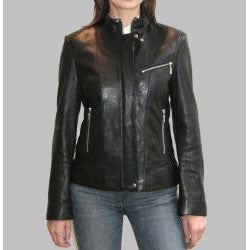 IZOD Women's New Zealand Lamb Leather Moto Jacket