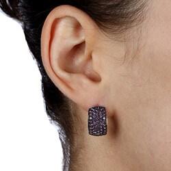Kabella Sterling Silver 5-row Amethyst Earrings