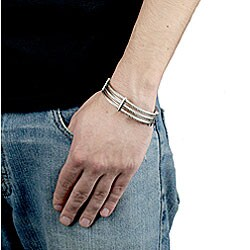 West Coast Jewelry Stainless Steel 3-strand Cable Bracelet - Thumbnail 2