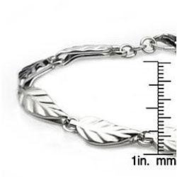 West Coast Jewelry Stainless Steel Polished Leaf Link Bracelet - Thumbnail 2