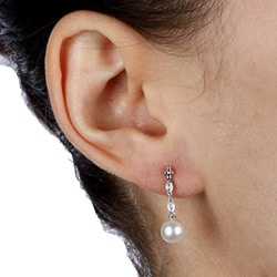 Kabella 14K White Gold 1/10ct TDW Diamond and Pearl Earrings (6-7mm)