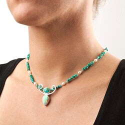 Sterling Silver Turquoise/ Pearl/ Opal 'Graceful Woman' Necklace