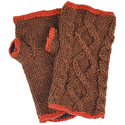 Wool Cable-knit Arm Warmers (Nepal) - Thumbnail 2