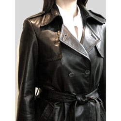 Izod Women's Belted Leather coat - Thumbnail 2