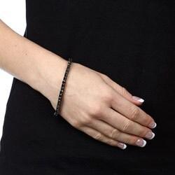 Silver and Black Rhodium 8ct TDW Black Diamond Tennis Bracelet
