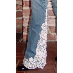 Blue Jeans with White Lace Trim - Thumbnail 2