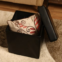 Ann Black Faux Leather Storage Ottoman - Thumbnail 2