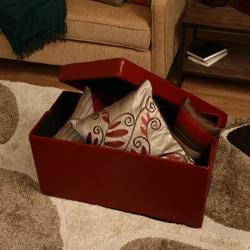 'Kirstina' Red Faux Leather Storage Ottoman (Set of 2) - Thumbnail 2