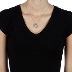 Kabella Sterling Silver Freshwater Pearl and Cubic Necklace (9-10 mm) - Thumbnail 2