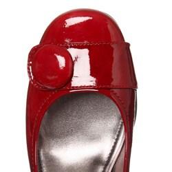 ECCO Women's Retro Red 'Hanna' Patent Leather Button Pumps - Thumbnail 2