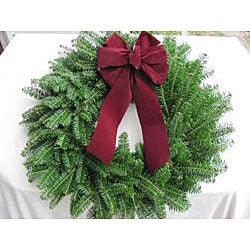 Fresh Balsam Red Bow Christmas Wreath - Thumbnail 2