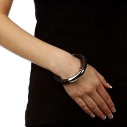 Kabella Gerald David Bauman Stainless Steel Braided Leather Bracelet - Thumbnail 2