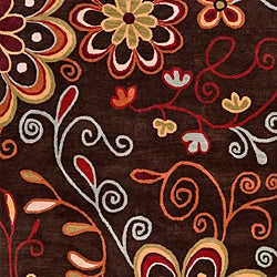 Hand-tufted Whimsy Chocolate Wool Rug (8' x 11') - Thumbnail 2