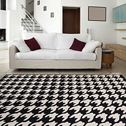 Hand Tufted Black Houndstooth Rug 8 X 11 Free