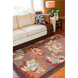 Thumbnail 3, Hand-tufted Brown Floral Rug (8' x 11'). Changes active main hero.