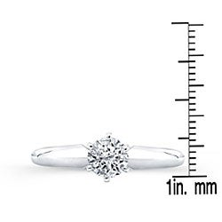14k White Gold Certified 1/2ct TDW Round Diamond Solitaire Ring - Thumbnail 2