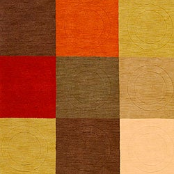 Hand-tufted Contemporary Multi Colored Square Tailored Wool Geometric Rug (9' x 13') - Thumbnail 2