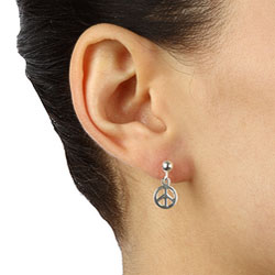 Sterling Essentials Sterling Silver Peace Sign Ball Stud and Dangle Earrings