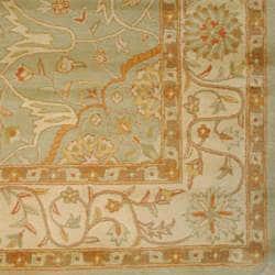 Indo Hand-Tufted Green/ Beige Wool Rug (5' x 8')