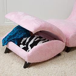 Kids Soft Fabric Chair and Storage Ottoman Set