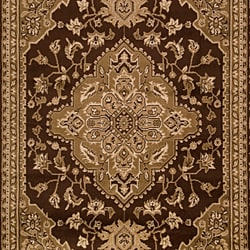 Loomed Free-form Chocolate Brown Geometric Rug (7'9 x 11'2) - Thumbnail 2