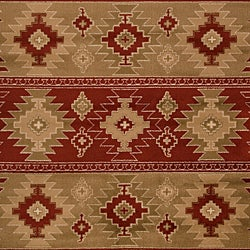 Meticulously Woven Red/Tan Southwestern Aztec Free-form Rug (7'9 x 11'2) - Thumbnail 2