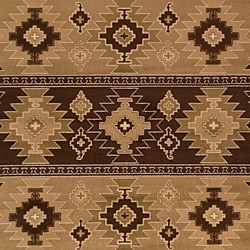 Meticulously Woven Brown/Tan Southwestern Aztec Free-form Rug (7'9 x 11'2) - Thumbnail 2