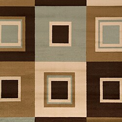 Meticulously Woven Contemporary Brown/Green Free-form Geometric Squares Rug (7'9 x 11'2)