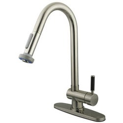 Kaiser Single-handle Pull-out Satin Nickel Kitchen Faucet - Thumbnail 2